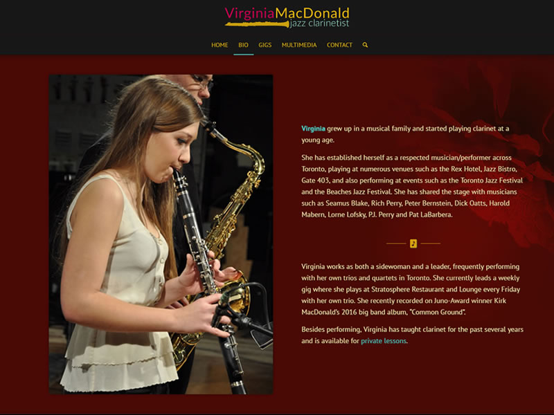 Jazz Clarinetist Virginia MacDonald
